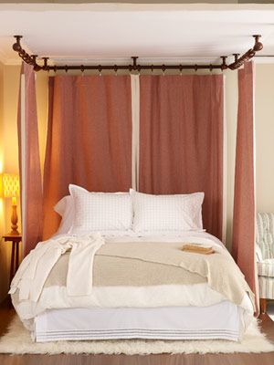 Curtains hanging from ceiling: Hang Curtain, Curtains, Beds, Curtain Rods, Ceiling, Headboard Ideas, Bedroom Ideas