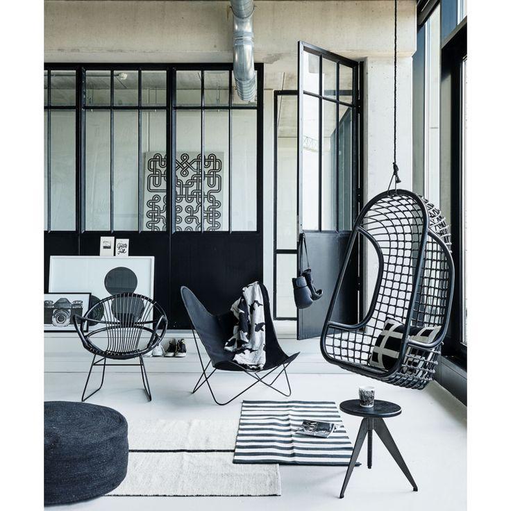 HKliving Hangstoel 110 cm - Zwart