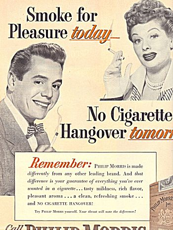 Lucy & Desi 1950s ad promoting Philip Morris cigarettes