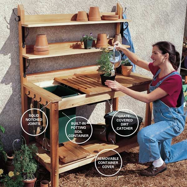 This handy gardener's bench from the DIY experts of The Family Handyman Magazine includes complete plans with a cutting list and can be built using basic carpentry tools. There are no complex joints to construct so no special woodworking skills are required. The soil container on this one is a simple plastic trash bin and the plans include a removable lid and sliding grate.