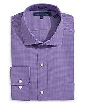 Regular-Fit Grid Check Dress Shirt