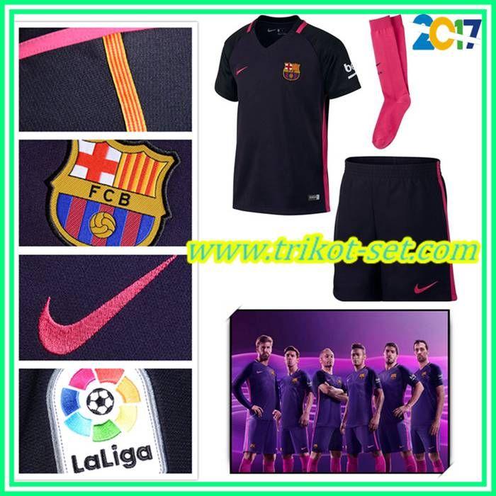 Original Barcelona Trikot Kinder Lila Auswärts 2016/17 Billig