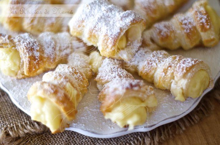 Canutillos de de hojaldre rellenos de crema, video receta
