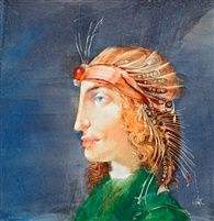Hölgy gyümölcsös kalapban by Endre Szasz