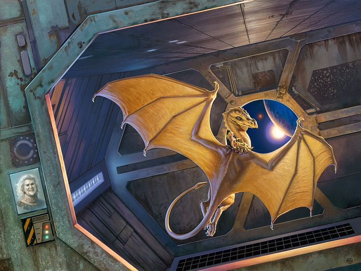 Dragon-aboard   The cover art for DRAGONWRITER, A TRIBUTE TO ANNE MCCAFFREY AND PERN was originally conceived in 1991 for her novel ALL THE WEYRS OF PERN. Artist , Michael Whelan.