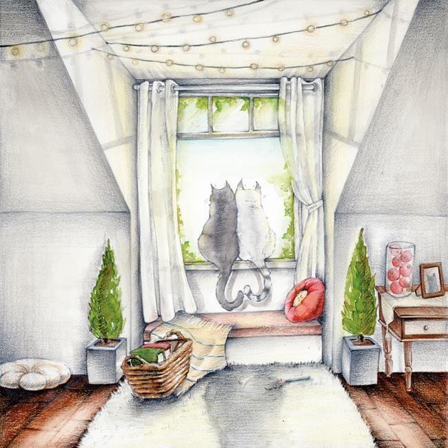 Kedilerle yaşamanın verdiği mutluluğu, huzuru ve yalnızlığı yansıtan birbirinden sevimli illüstrasyonlar.
