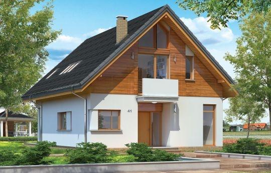 Projekt Prosty to dom jednorodzinny dla rodziny cztero-sześcioosobowej, przykryty dwuspadowym dachem. Dom jest podmiejską willą o nowoczesnej ale spokojnej architekturze. Zwarta bryła budynku z dużym zadaszonym podcieniem z tyłu domu, została ciekawie ozdobiona klinkierowymi i drewnianymi okładzinami elewacji, oraz loggiami i podcieniem wejściowym. Masywny ozdobny komin kominka wewnętrznego, czy narożne okna - to dodatkowe ozdoby bryły.