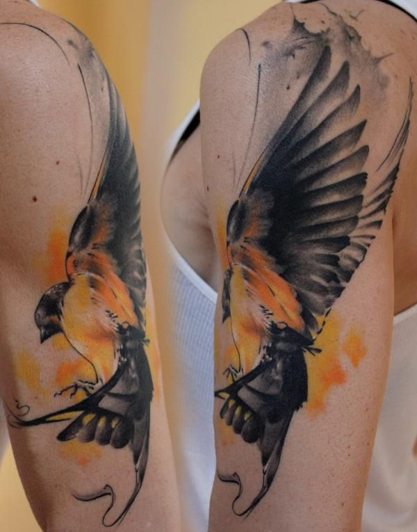 watercolor tattoo - bird - arm | Tattoos I Like for Me & for Inspiration | Pinterest