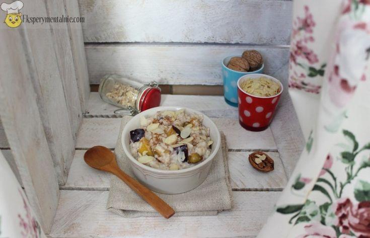Przepis na owsiankę - rozgrzewające śniadanie / Porridge with plums and walnuts - Recipe