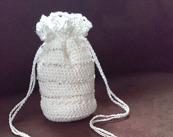 Crocheted Drawstring Bag /Pouch - Amulet, Medicine or Jewelry Storage