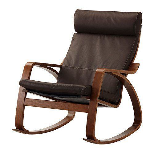 ikea poang rocking chair medium brown with robust dark brown leather