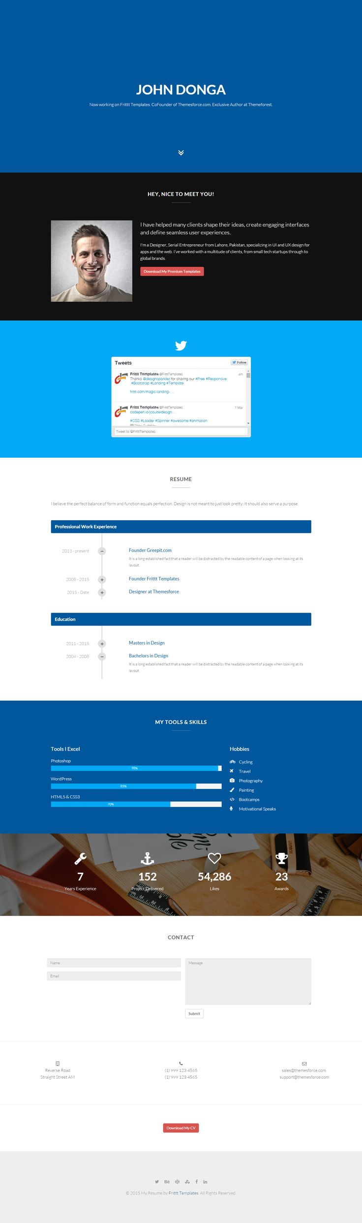 MY.Resume is a modern and creative HTML resume layout template that you can use to create the perfect resume layout.