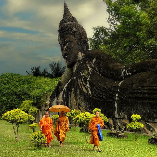 Wat Xieng Khuan is a Buddha Park located 25 km southeast from Vientiane, Laos in a meadow by the Mekong River