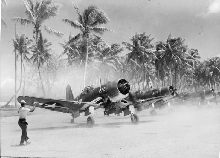 United States Marine Corps F4U Corsair fighter-bombers on Tarawa Atoll in the central Pacific. Such was the demand for this plane that Vought, the original manufacturer, was soon being supplemented by Goodyear and Brewster. Eventually the Corsair won a record as the one plane with the longest production run of any piston-engined fighter in U.S. history (1942–53).
