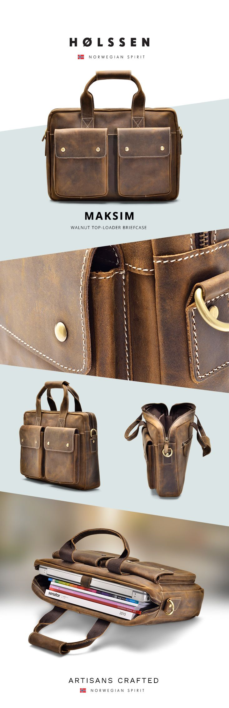 Our Maksim Briefcase is a handsome everyday briefcase carefully designed for…