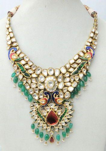 Vintage Antique 20K Gold Diamond Polki Kundan Enamel MEENAKARI Work Necklace Ind   eBay