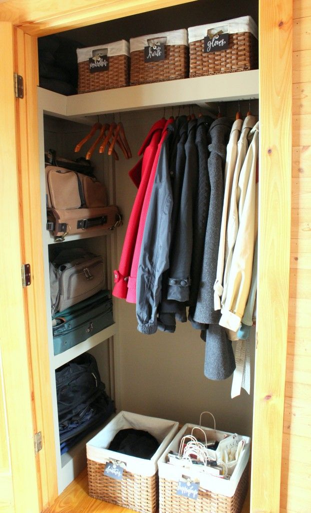 Something similar to this for coat closet -just need to add more shelves on side and bottom for shoe storage