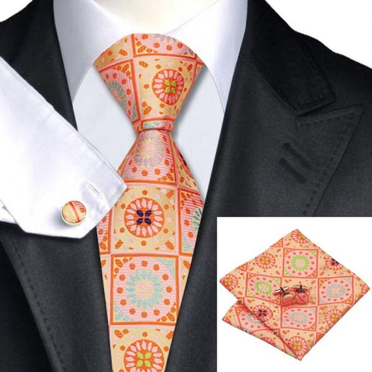 Оранжевый галстук с запонками и платком - купить в Киеве и Украине по недорогой цене, интернет-магазин