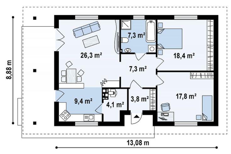 Проект одноэтажного коттеджа «Севилья Z55»