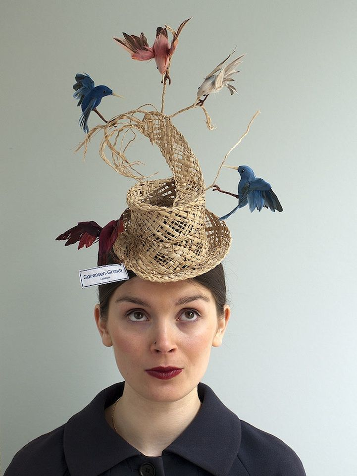 """After Sara Grundy's clever hat called """"Construction Overhead,"""" which featured miniature men making a Victorian top hat, spread throughout the web, she was"""