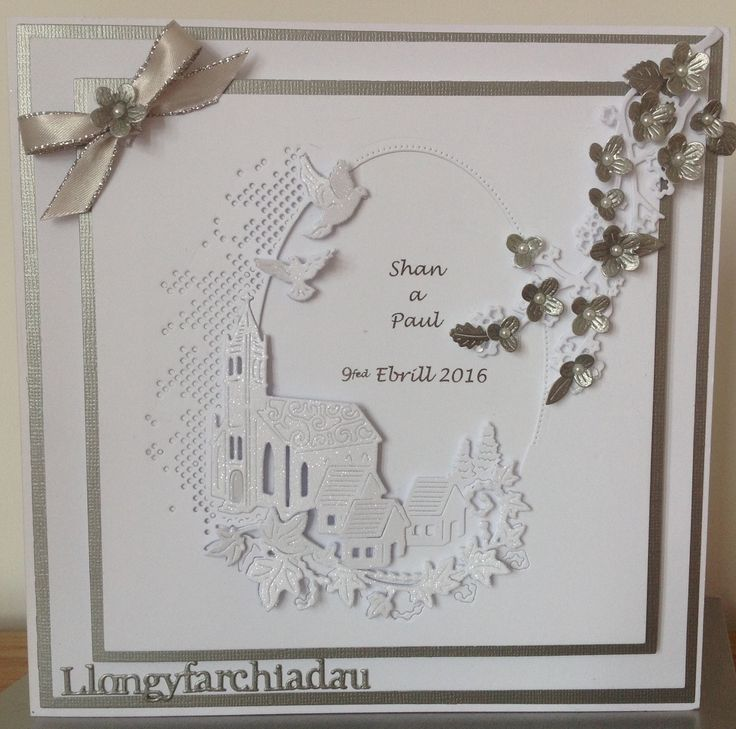 8x8 Wedding card - Tattered lace melded church die with cherry blossom branch.