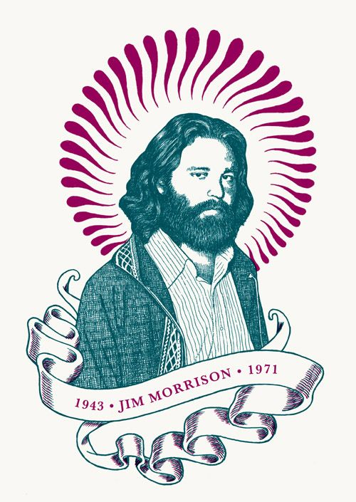 "RS171 - ""Jim Morrison"" Icon card by Ben Lamb Illustration & Design"