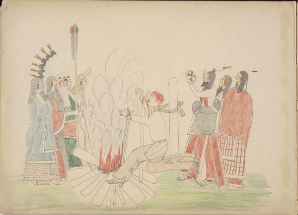 Silver Horn (Кайова) Ledger Book (Nelson - Atkins) - Braves Dancing around White Captive Who is being Burnt to the Stake (After being Scalped).  !!!