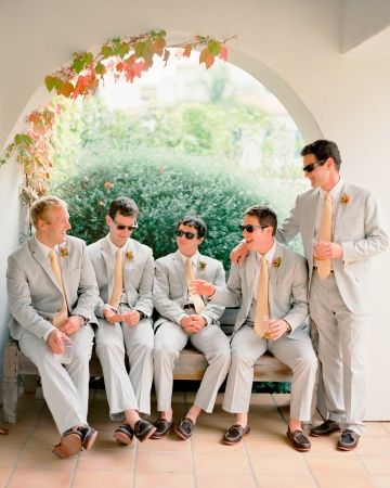 Groomsmen, in J. Crew suits, Hermes ties, and Sperry Top-Sider for J. Crew loafers, kick back with cold beverages: Grey And Peaches Groomsmen, Grey Suits, Groomsmen Loafers, Groomsmen Ideas, Real Wedding, Wedding Groomsmen, Groomgroomsmen Attire, Ray Ban Sunglasses, California Casual