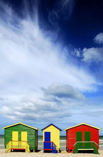 Muizenburg huts, Cape Town, S. Africa