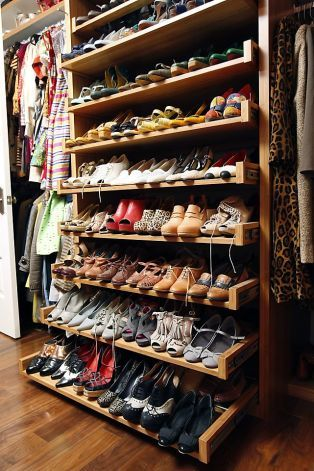 Susan Koger, co-founder and COO of the fashion website ModCloth, keeps her #shoes organized in a wall unit with drawers that slide out to pro...