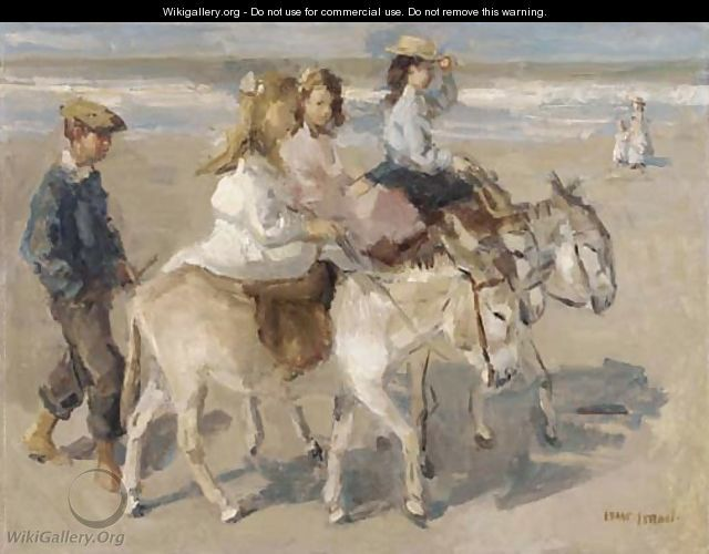 Ezeltje rijden a donkey-ride on the beach - Isaac Israels