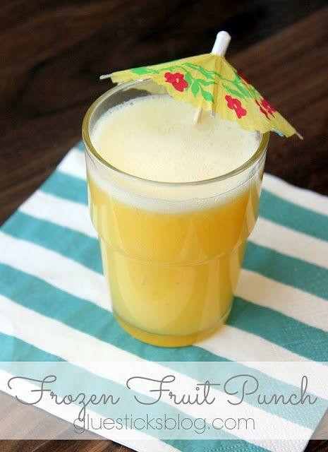 Frozen Fruit Punch -- OJ, pineapple juice, banana, lemon juice... Frozen then partially thawed & served w/ 7-up. So refreshing.