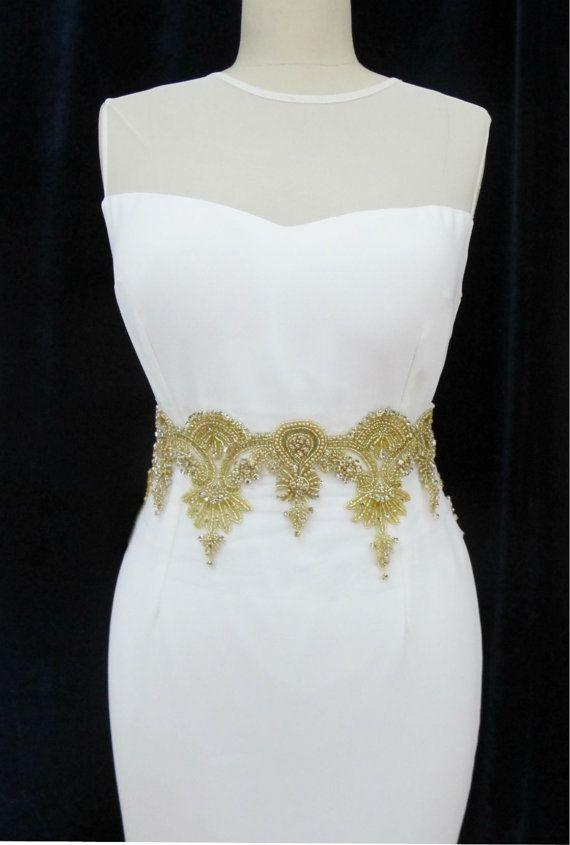 DIY Wedding Bridal Gold Rhinestone Pearl Crystal Trim By Gebridal