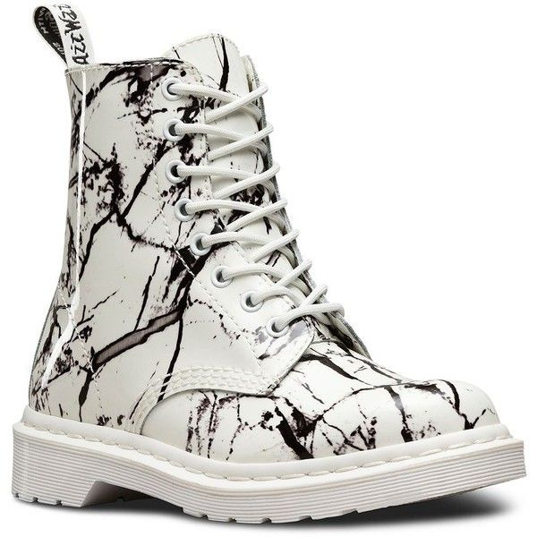 Dr. Martens Women's Pascal Patent Leather Boots ($125) ❤ liked on Polyvore featuring shoes, boots, white, laced boots, dr martens boots, lace up boots, block heel boots and block heel shoes