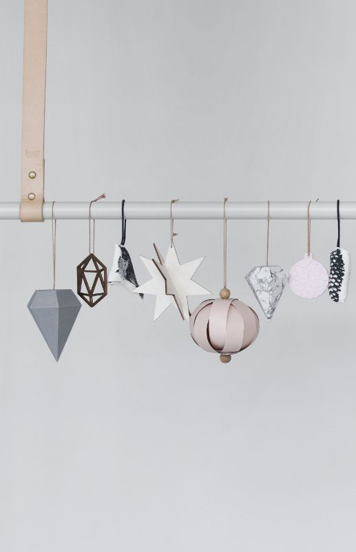 Ferm Living Christmas decor - via Coco Lapine Design casey, love this hanging idea!! even with rope and a twig? or rope and wood dowel.