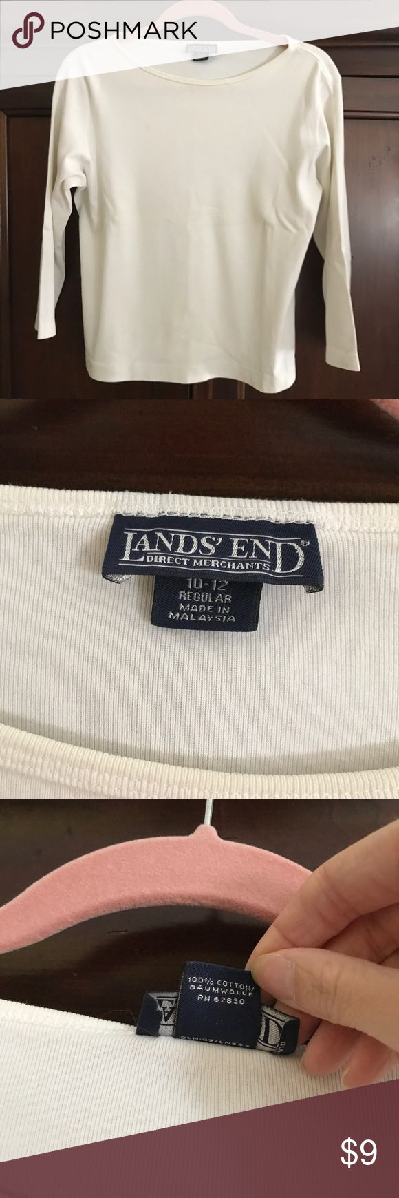 Lands End 3/4 sleeve tee Great condition.  🌼Thank you for looking!  🌼I ship within 2 days shipping excluding holidays 🌼I do not trade! 🌼I only accept offers through the offer button! 🌼Thank you for shopping and feel free to ask any questions! 🚭Smoke free home! Lands' End Tops Tees - Long Sleeve