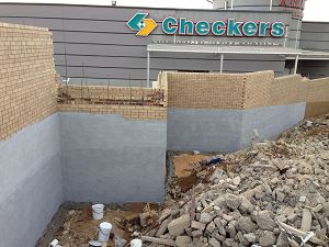 Waterproofing of Retaining Wall.  All walls and roofs waterproofed before painting. Waterproofing in Pretoria East area.