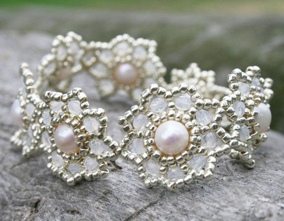 fresh pearl bracelet gemstone bracelet pearl by koralikowyraj