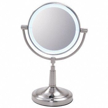 """CRL Vanity Mirror with LED Surround Light by CR Laurence by CR Laurence. $55.00. 1X and 5X Magnification Elegant Slim Design No Power Cord Required CRL's new Vanity Mirror has an LED surround light in a 7"""" (178 mm) diameter, brushed nickel frame. This convenient size mirror is 14"""" (356 mm) high and can be easily carried with you wherever you go. The Mirror uses four AA batteries which are not included. The 360 swivel Mirror has 1X magnification on one side and 5X on the other."""