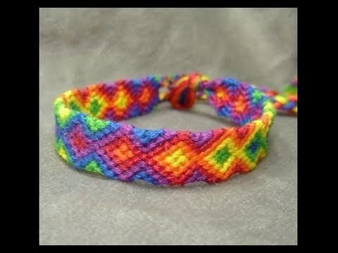 ► Friendship Bracelet Tutorial - Beginner - Rainbow Arrowhead