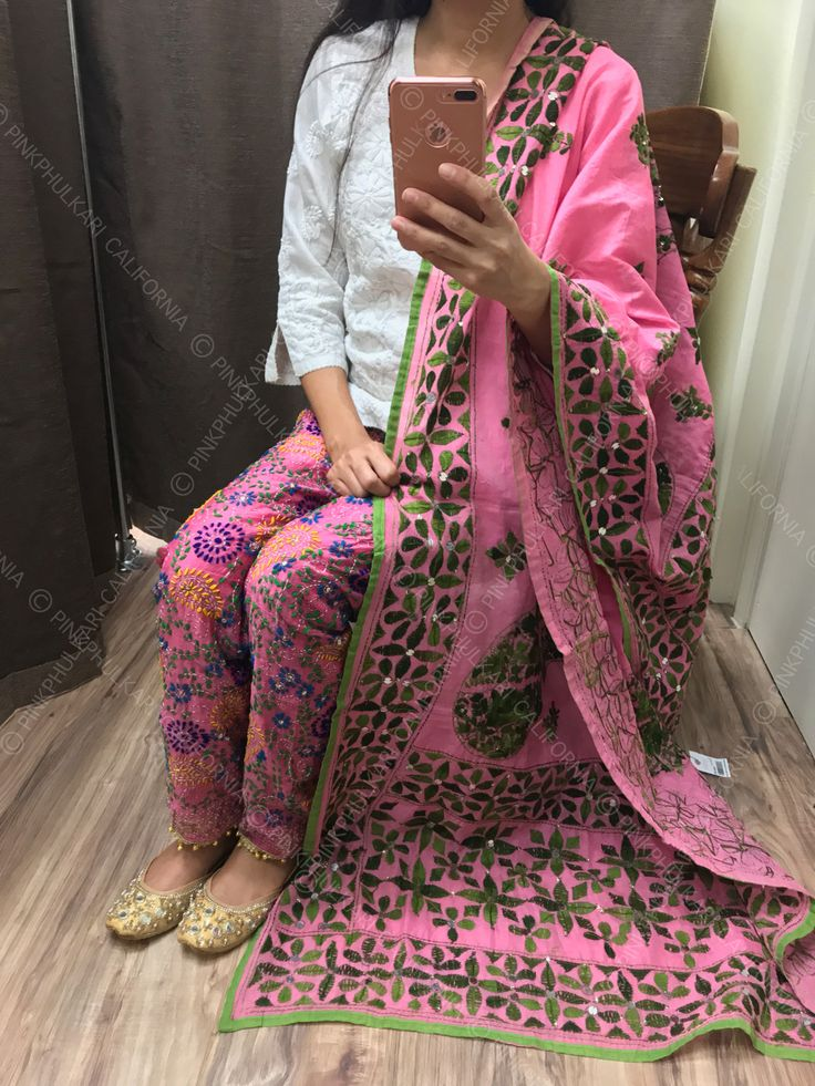 Looking for complete Phulkari Pant outfit? Contact us or visit our website for traditional wear at affordable prices California Based. FREE SHIPPING IN USA. www.PinkPhulkari.com
