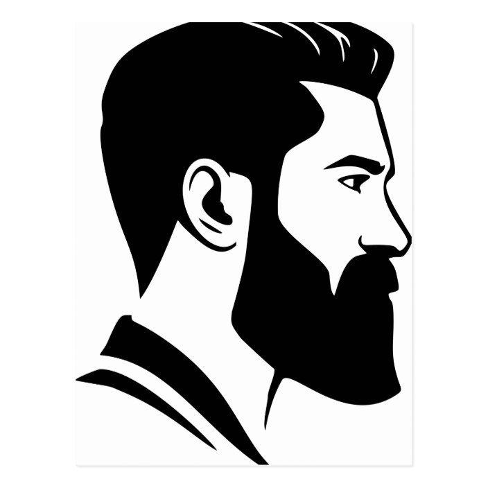 Bearded Man Postcard Zazzle Com Beard Cartoon Beard Drawing Png Images