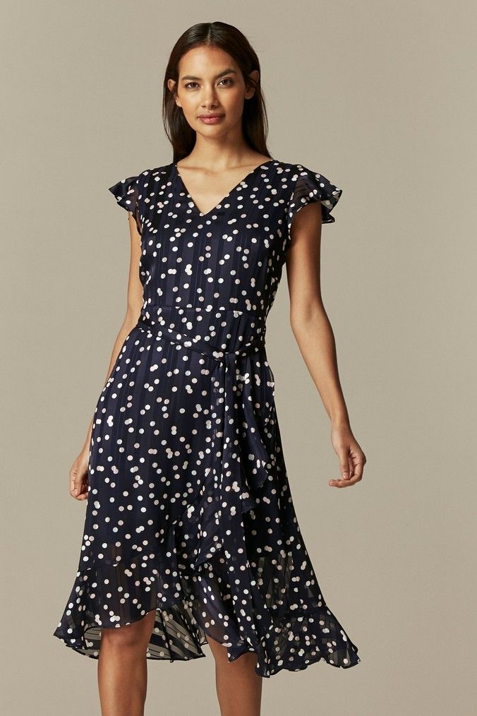 Womens Wallis Petite Multi Spot Ruffle Dress Blue In 2020 Ruffle Dress Dresses Wallis Petite