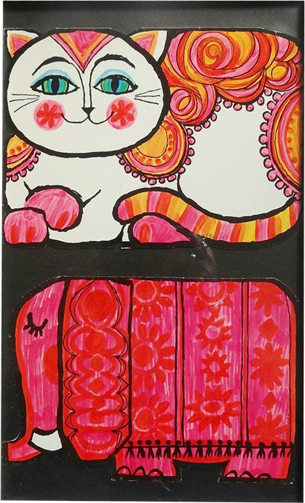 1960s illustration of a cat and elephant by A. Freitas