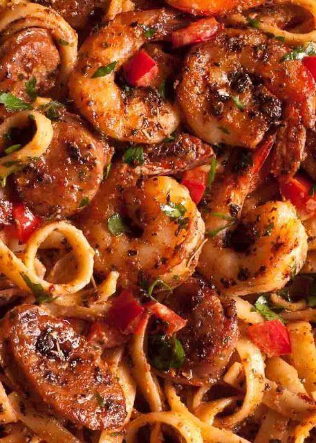 Creamy Cajun Shrimp Pasta With Sausage Easy Pasta Recipes Sausage Recipes Shrimp Dishes