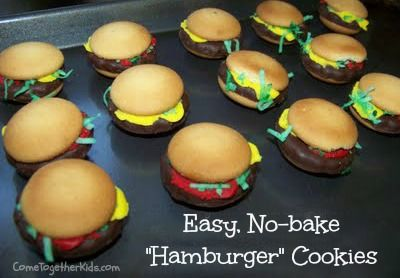 Easy, No-bake Hamburger Cookies! They look so real!!!! NEED to make these!