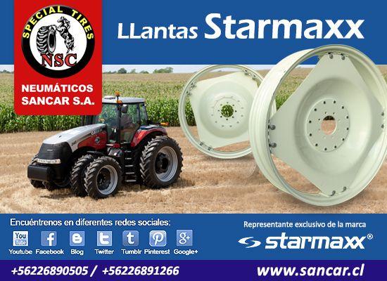 Llanta Hortalicera LLantas Hortaliceras Starmaxx para tractor Agrícola Representante Exclusivo en Chile de Starmaxx Neumáticos Sancar, Todos en un solo lugar. http://www.sancar.cl | ventas@sancar.cl | +56226890505 | +56226891266