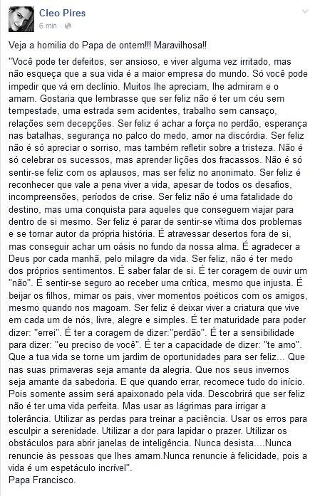 Cleo Pires escreve reflexão religiosa na web (Foto: Reprodução / Facebook)