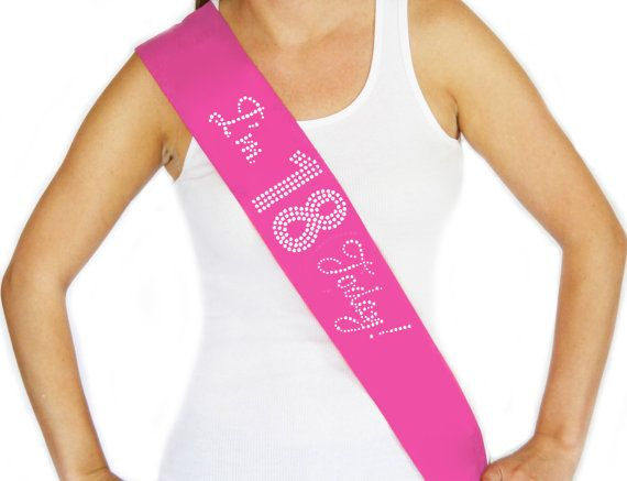 Rhinestone Im 18 Today Pink Sash - Birthday Sash, Its My Birthday, Birthday Party, Birthday Girl, Teen Sash