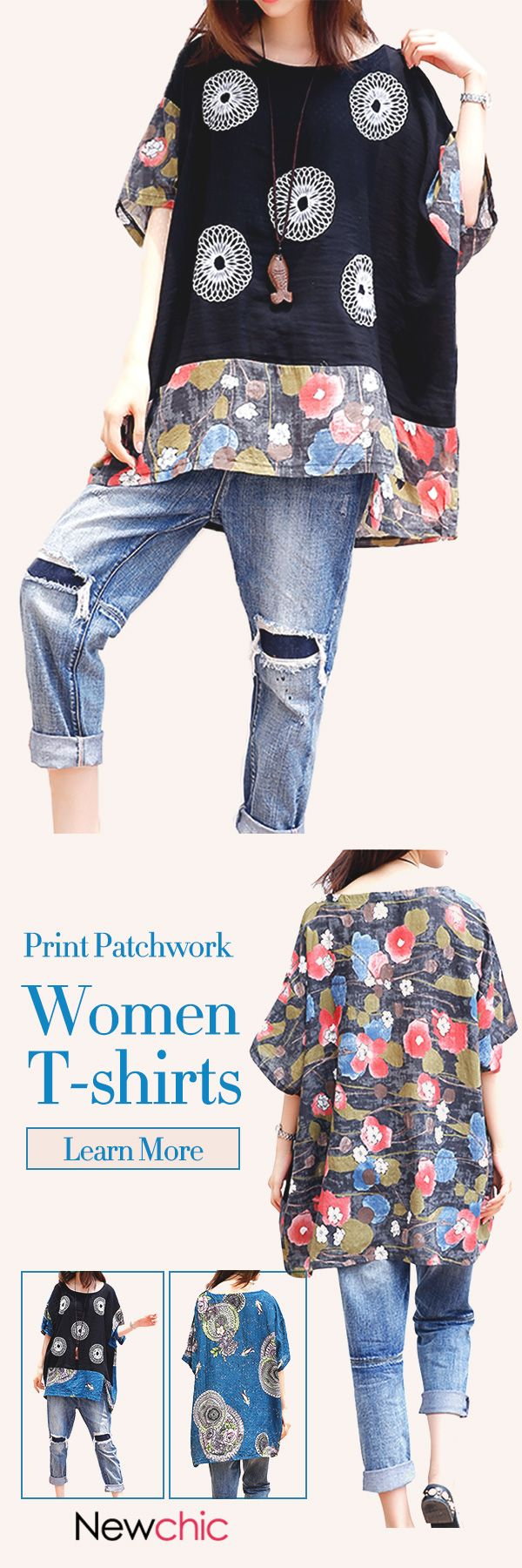 [Newchic Online Shopping] 48%OFF Women's Folk Style Patchwork Print T-shirts with O-neck and Bat Sleeve